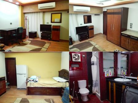 غرفة مفروشة على مستوى راقي للإيجار بموقع متميز ميدان الحصري 6 أكتوبر